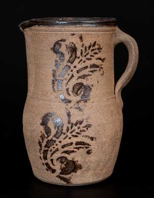 Western PA Tanware Pitcher with Stenciled Decoration