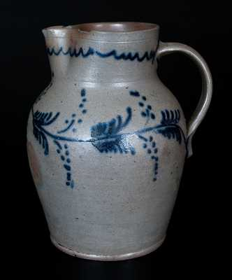 Scarce Half-Gallon Baltimore Stoneware Pitcher w/ Slip-Trailed Vine Decoration