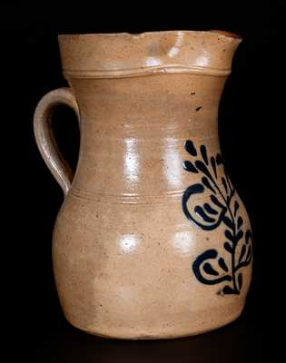 Half-Gallon Stoneware Pitcher w/ Slip-Trailed Floral Decoration, attrib. Edmands Pottery, Charlestown, MA