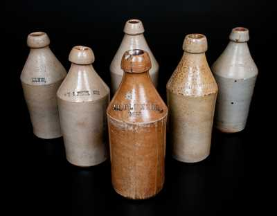 Lot of Six: Assorted Stoneware Bottles, Five with Stamped Advertising