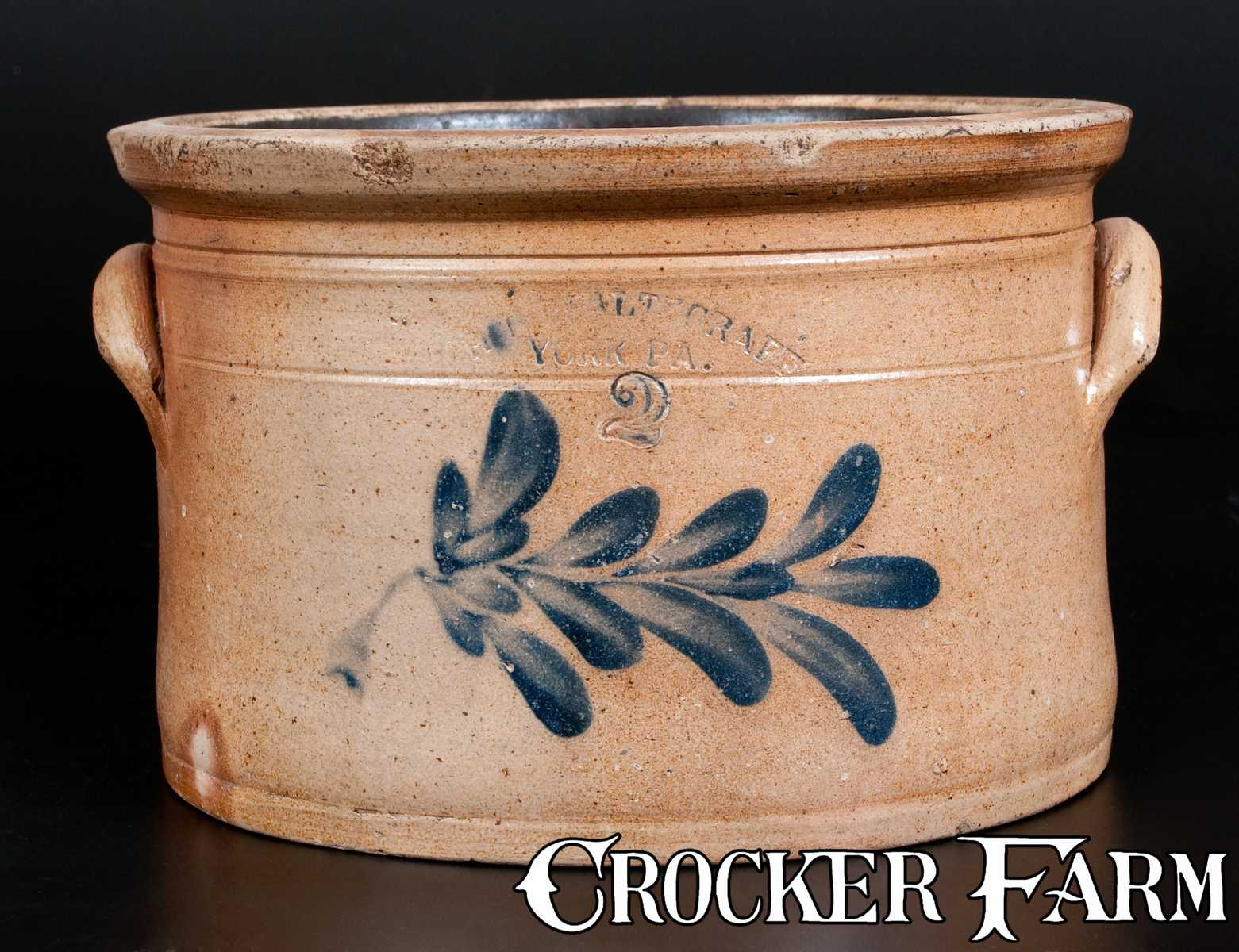 H. B. PFALTZGRAFF / YORK, PA Decorated Stoneware Cake Crock -- Lot ...