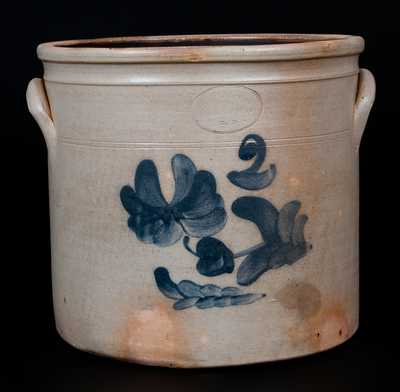 F. J. CAIRE / Huntington / L.I. Two-Gallon Stoneware Crock w/ Floral Decoration