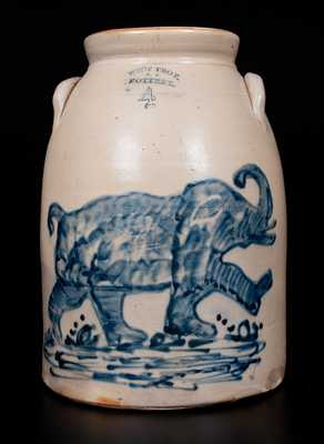 Extremely Important West Troy, NY Stoneware Elephant Crock