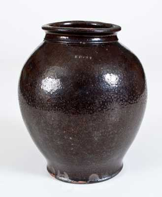 Glazed Redware Jar, Stamped