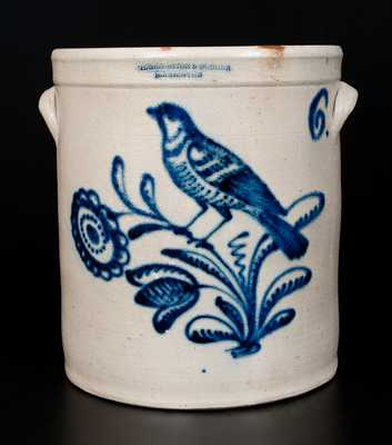 HARRINGTON & BURGER / ROCHESTER 6 Gal. Stoneware Jar w/ Elaborate Bird and Floral Decoration