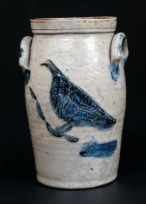 Exceptional Miniature Stoneware Churn w/ Detailed Incised Bird, Inscribed