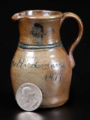Very Rare Miniature 1877 Donaghho Pottery, Parkersburg, WV Stoneware Pitcher by Walter Donaghho