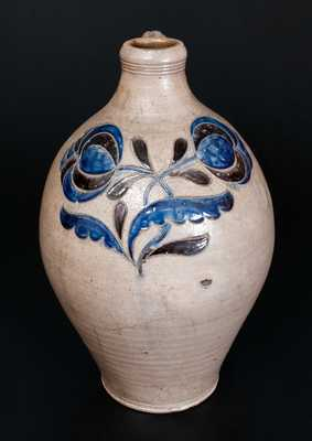 Exceptional New York City Stoneware Jug w/ Elaborate Incised Cobalt and Manganese Decoration, c1775-95