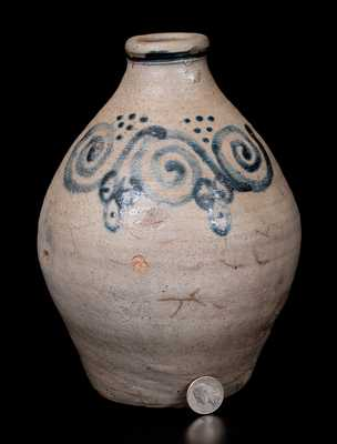 Outstanding attrib. Abraham Mead Stoneware Jug w/ Watchspring Decoration, 18th century