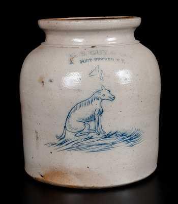 Extremely Rare G. S. GUY & CO. / FORT EDWARD, NY Stoneware Jar w/ Incised Dog