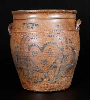 Very Rare J.B. PFALTZGRAFF & CO. / YORK, PA Two-Gallon Stoneware Cream Jar w/ Heart Decoration