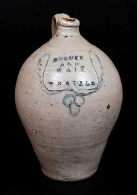 Very Rare ORCUTT AND WAIT / WHATELY Stoneware Jug w/ Incised Wreath Decoration