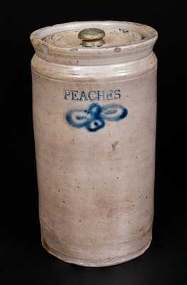Very Rare C. CROLIUS Stoneware Jar Impressed PEACHES with Incised and Brushed Decorations, NY City