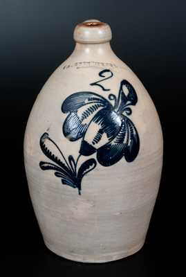 F. STETZENMEYER. / ROCHESTER, NY Stoneware Jug w/ Detailed Slip-Trailed Decoration