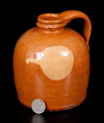 Rare Galena, IL Diminutive Redware Jug with Yellow Slip Circle Decoration