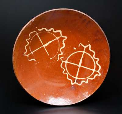 Rare Huntington, Long Island Redware Charger w/ Stamped Pinwheel Decoration