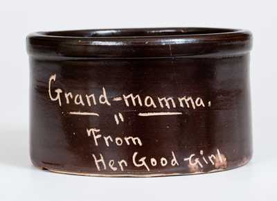 Rare Small Huntington, Long Island Stoneware Butter Crock Inscribed