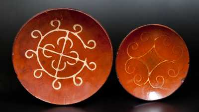 Slip-Decorated Redware Plate, Huntington, Long Island, New York, circa 1807-1860