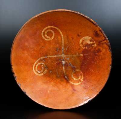 Slip-Decorated Redware Charger, Huntington, Long Island, New York origin, circa 1807-1860.