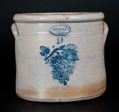 One-and-a-Half-Gallon BROWN BROTHER , / HUNTINGTON, / L.I. Stoneware Crock w/ Stenciled Grapes