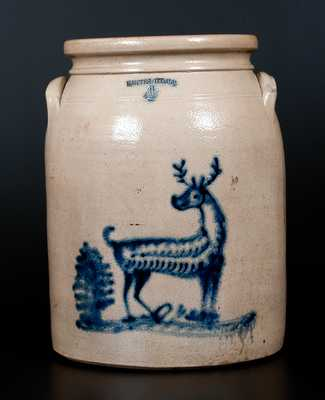 Rare WHITES UTICA Stoneware Jar with Deer and Tree Decoration