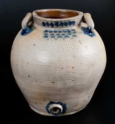 Exceptional Bulbous Stoneware Water Cooler w/ Impressed Designs, possibly Charlestown / Boston