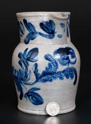 Very Fine Quart Baltimore Stoneware Pitcher w/ Vibrant Cobalt Floral Decoration