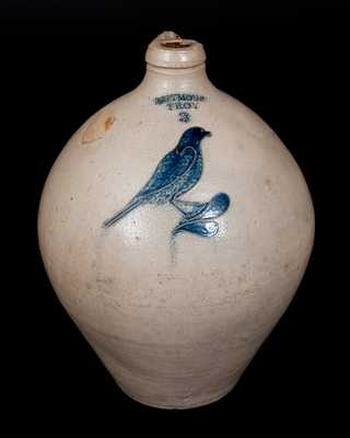 Three-Gallon I. SEYMOUR / TROY Incised Bird Stoneware Jug