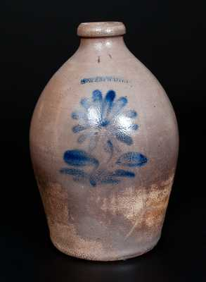 J. W. COWDEN (Harrisburg, PA) Stoneware Jug with Cobalt Floral Decoration