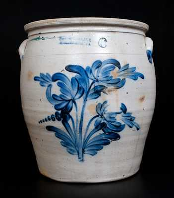 Six-Gallon COWDEN & WILCOX / HARRISBURG, PA Stoneware Jar w/ Profuse Floral Decoration