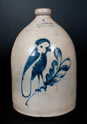 B.G. CHACE & CO / PROVIDENCE R I Five-Gallon Advertising Jug w/ Cobalt Parrot att. Norton, Worcester, MA