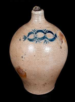 Ovoid Stoneware Jug att. David Morgan w/ Impressed Decoration, New York City, c1800