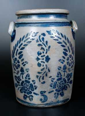 Five-Gallon Western PA Stoneware Jar w/ Elaborate Stenciled Floral Decoration