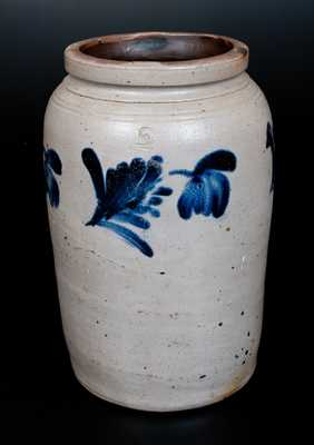 Philadelphia Stoneware Jar with Cobalt Floral Decoration, c1860