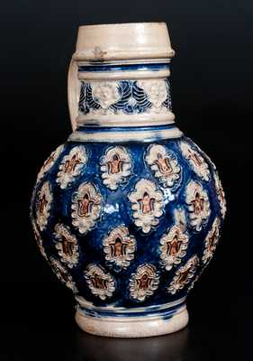 Fine Westerwald Stoneware Jug with Applied Decoration, 18th century