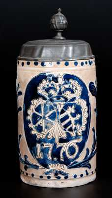 Fine Westerwald 1776 Stoneware Mug w/ American Independence Date and Elaborate Incised Decoration