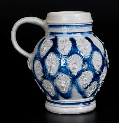 Westerwald Stoneware Mug with Applied Urn Decoration, circa 1700
