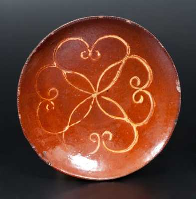 Redware Plate with Impressed Yellow-Slip Design, Huntington, Long Island, circa 1850