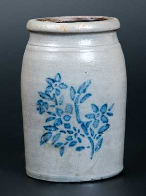 Western PA Stoneware Canning Jar with Stenciled Floral Decoration