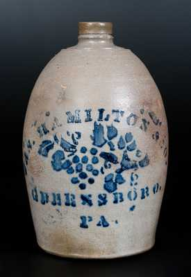 JAS. HAMILTON & CO. / GREENSBORO, PA Stoneware Jug With Stenciled Grapevine Decoration