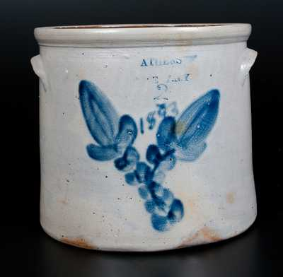 Unusual ATHENS POTTERY, N.Y. Stoneware Jar Dated 1893