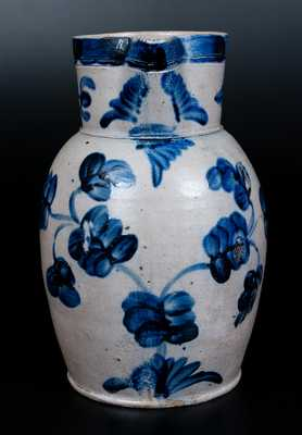 Excellent Baltimore Stoneware Two-Gallon Pitcher w/ Elaborate Cobalt Floral Decoration