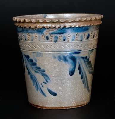 Extremely Rare Strasburg, VA Stoneware Flowerpot w/ Crimped Rim, Impressed and Incised Designs, att. Solomon Bell