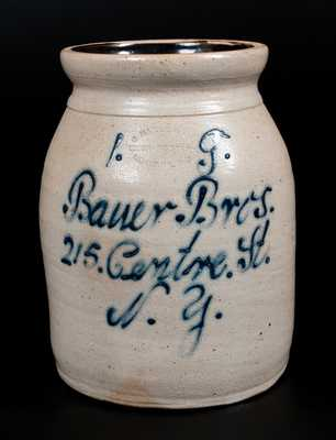 UNION POTTERY / NEWARK, NJ Stoneware Jar with New York City Script Advertising