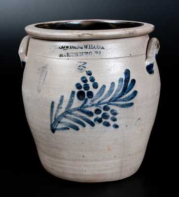 COWDEN & WILCOX / HARRISBURG, PA Three-Gallon Stoneware Jar w/ Floral Decoration