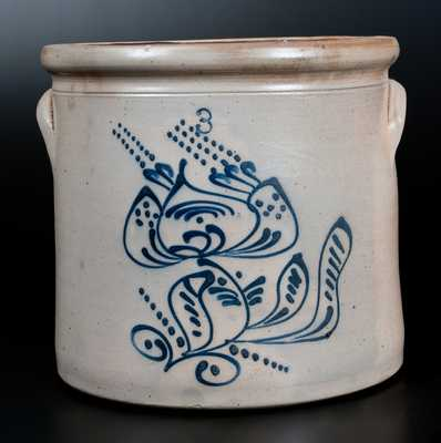 Three-Gallon Stoneware Jar with Slip-Trailed Floral Decoration