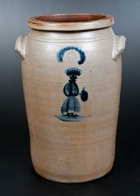 Very Rare D. G. Thompson, Morgantown, WV Stoneware People Crock