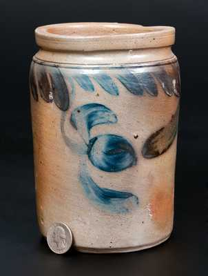 One-Quart Stoneware Jar w/ Hanging Tulip Decoration, Southeastern PA, circa 1860