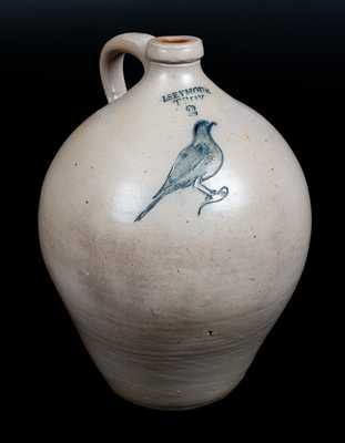 I. SEYMOUR / TROY Ovoid Stoneware Jug w/ Incised Bird Decoration