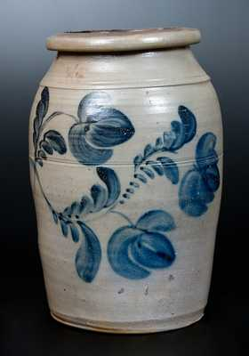 Fine Western PA Stoneware Jar with Brushed Floral Decoration